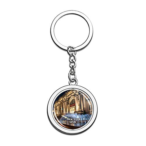 USA United States Keychain The Metropolitan Museum of Art New York Key Chain 3D Crystal Spinning Round Stainless Steel Keychains Travel City Souvenirs Key Chain Ring -