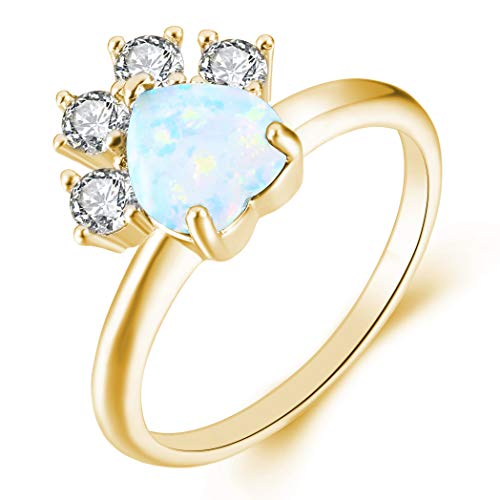 - JIANGYUE Cat Dog Paw Created Fire Opals Rings for Women Champagne Gold Plated Lovely Dainty Party Jewelry Valentine's Day Mother 's Day Gift Size 8