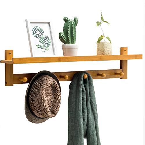 BHG Log Hat Scarf Rack with Shelf, Multi-Purpose Wall Wardrobe Wooden Heavy Duty Hook -6-Hook for Hanging Jacket, Key, Wallet, Robes, Umbrella 33 Inches