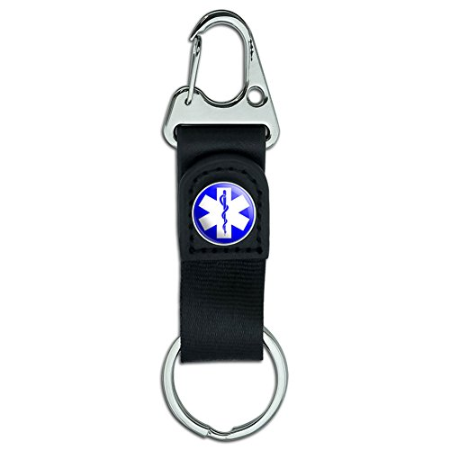 (Belt Clip On Carabiner Leather Keychain Fabric Key Ring Symbols - Star of Life - EMT RN MD)