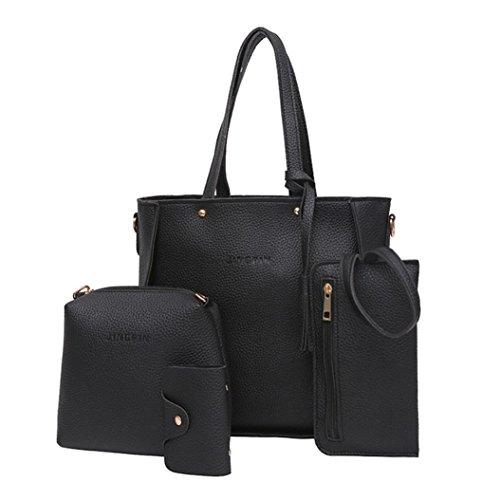Handbag Bags Shoulder Black Black Set Women Wallet one Bag Crossbody Shoulder Women Pieces set Four Tote Bag Four wWIYTX1q0