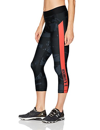 Under Armour Women's HeatGear Armour Printed Graphic Capris, Stealth Gray/Marathon Red, Large