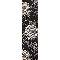 Rug Source Hand-Tufted Black Transitional Floral Oushak Oriental Wool Rug 10 Ft Runner for Staircase