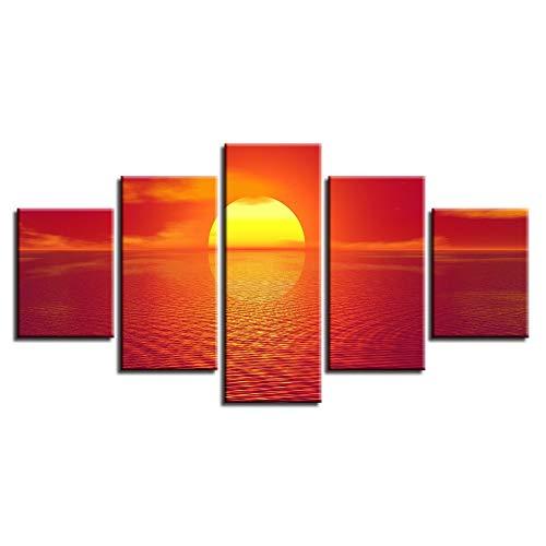 WJNKGHG Wohnzimmer Bilder Wohnkultur Rahmen HD Gedruckt 5 Panel Meer Rote Sonne Landschaft Malerei Wandkunst Modulare Poster Moderne leinwand (Sonne Bilder Für Kinder)