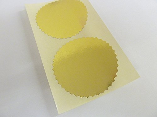 Minilabel Roll Of 1000 50Mm Serrated Edge, Shiny Gold, Certificate Wafer Company Seal Labels, Stickers For Embossing, Awards & Rewards
