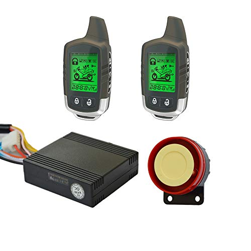 BANVIE Power Save Two Way Remote Engine Start Motorcycle Security Alarm System with 2 LCD Status Indicator Transmitters