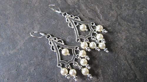 Swarovski Pearl Chandelier earrings with Sterling Silver lever backs Boho style earrings