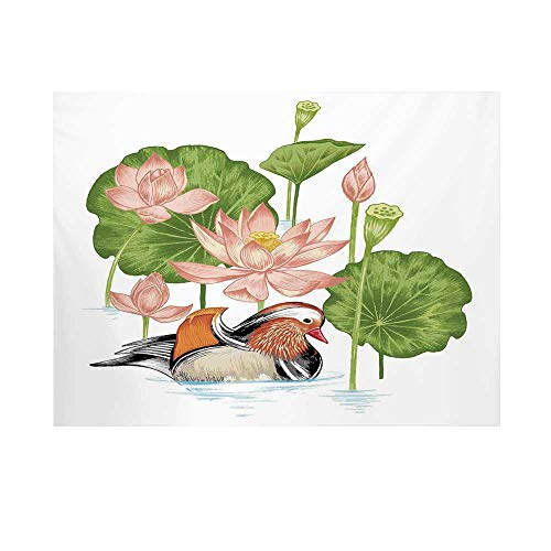 Mandarin Foam (Duck Photography Background,Baby Mandarin Duckling in Pond with Lotus Lily Flowers Water Painting Style Backdrop for Studio,10x6ft)