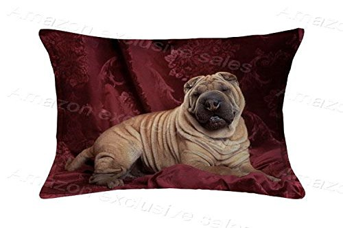 POPULARE Shar Pei Zippered Pillow Case-Pillow Protector-Pillow Cover Standard Size 20x30inch(2 Sides)