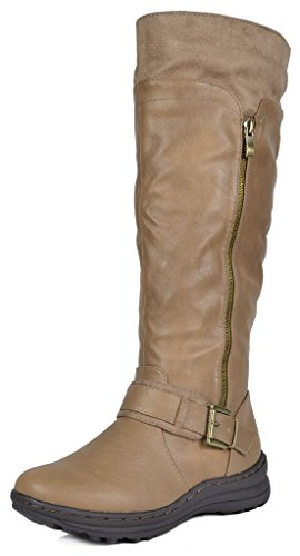 (DREAM PAIRS Women's New Siberian Khaki Faux Fur Lined Knee High Winter Snow Boots Size 8 B(M) US)