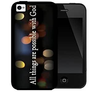 All Things Are Possible with God Quote Black Background with Colorful Circle Light Reflections 2-Piece Dual Layer High Impact Black Silicone Cell Phone Case Cover iPhone 4 4s