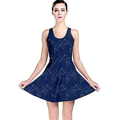 CowCow Womens Blue Hammerhead Shark Pattern Reversible Skater Dress