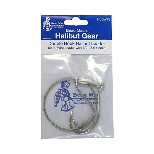 Beau Mac HLDW78 Halibut Ldr Dbl Hook 80Lb Wire 7/0-8/0 -