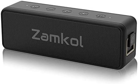 Portable Bluetooth Speaker, Zamkol Wireless Outdoor Speakers with 20W Stereo Sound, 24-Hour Playtime, EQ, IPX7 Waterproof, Wireless Stereo Pairing, for iPhone, Samsung, and More (Black)