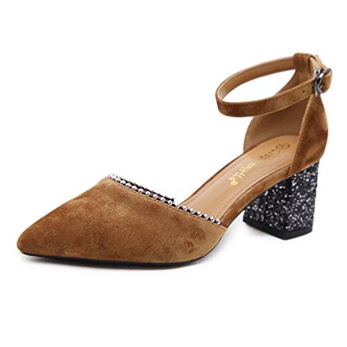 Femme Sandales Pointues Boucle de Mot Chaussures à Talons Perle Creuse Sandales Élégant 34-39 Marron pROwhHl