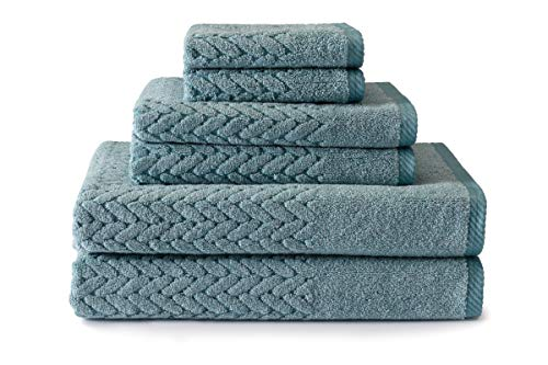 (Texere 100% Organic Cotton 6-Piece Towel Set - Luxury Bath Towel (Chestnut, 6-Piece Set, Smoke Blue) Best Idea TX-HC263-002-SMBU-R-6)
