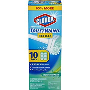 Clorox ToiletWand Disposable Toilet Cleaning Rainforest Rush Refill, 30 Count Total