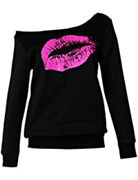 Women Casual Oversized Sexy Lips Print Off Shoulder Pullover