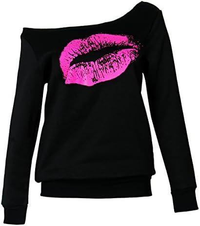 Smile peces mujeres casual Oversized Sexy Lips Impresión Apagado Hombro Pullover