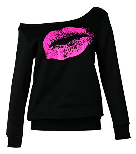 Smile Fish Women Lips Off The Shoulder Slouchy Sweater Sweatshirt(Black-rose3,2XL) Women Fish
