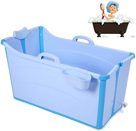折りたたみバスタブ GYF 折りたたみ大人用浴槽 ポータブルプラスチック浴槽 座るカバー付き ホームアダルト 子供用入浴浴槽ベビースイミングビッグタブ 2色ベビーシャワー用折りたたみバスタブ (Color : Blue)