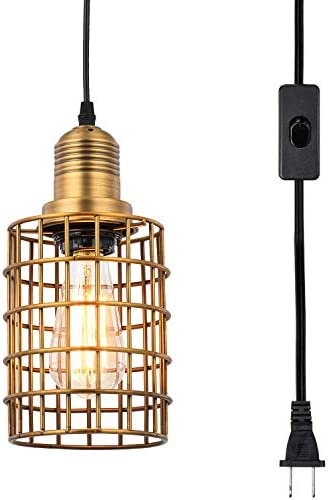 Topotdor Metal Cage Pendant Lighting with Plug in Cord,Vintage Industrial Hanging Ceiling Lamp E26 Edison Plug in Light Fixture On Off Switch Matte Gold