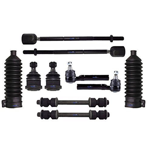 (PartsW 10 Pc Front Suspension Kit for Ford Mustang 1994-2002 Rack and Pinion Bellow Boot, Tie Rod Ends & Lower Ball Joints, Sway Bar End Link)