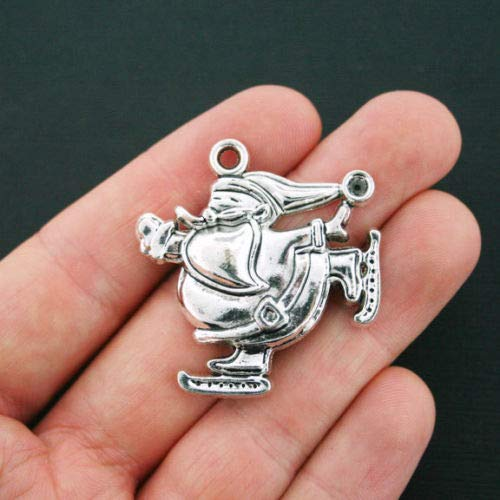 (Jewelry Making 2 Santa Charms Antique Silver Tone Large Skating Santa Claus - XC097 Perfect for Pendants, Earrings, Zipper pulls, Bookmarks and Key Chains)