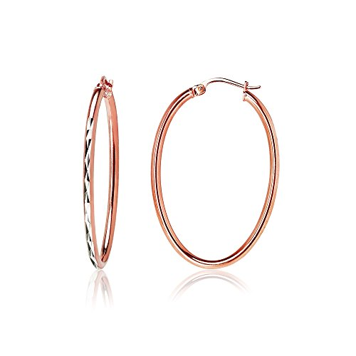 Rose Gold Flashed Sterling Silver Two-Tone 2mm Oval Diamond-Cut Hoop Earrings, 25mm