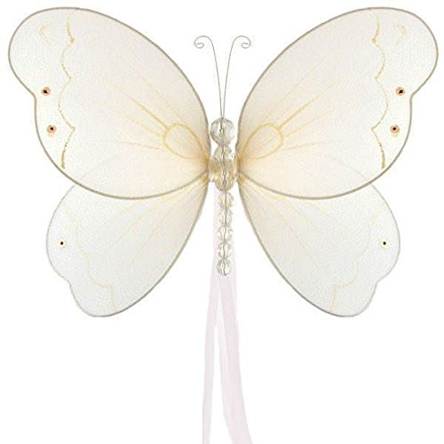 The Butterfly Grove Briana Mesh/Nylon 3D Hanging Decoration, Plumeria White, Small/5