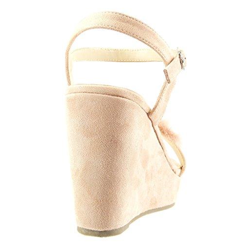 Angkorly - Chaussure Mode Sandale plateforme femme fourrure fleurs bijoux Talon compensé plateforme 11 CM - Rose