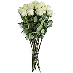 24 Stems - Fresh Cut White Rose Bouquet from Flower Explosion (Polar Star) for Valentine's Day