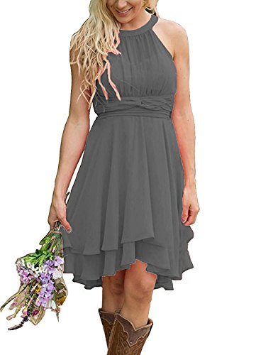 Meledy Women's 2018 Short Hight Low Country Bridesmaid Dresses Chiffon Ruched Halter Prom Evening Gowns Dark Grey US16