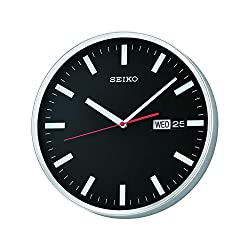 SEIKO QXF104A Day and Date Black Wall Clock