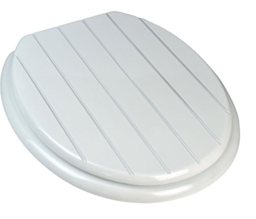 Harbour Housewares White Wooden Adjustable Toilet Seat. White Groove...