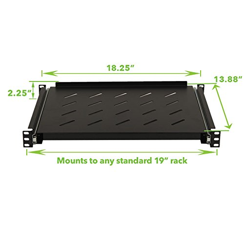 NavePoint Sliding Rack Vented Server Shelf 1U 19'' 4 Post Rack Mount 13.75'' (350mm) Deep by NavePoint