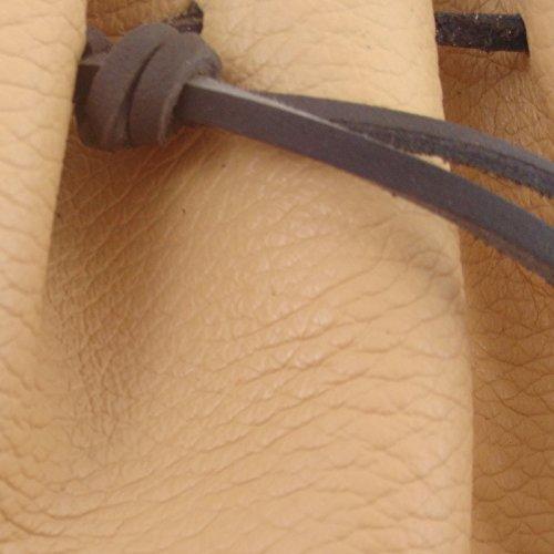 Le cuir buissonnier Poche de de de ceinture en cuir de bovin café au lait, lacet cuir, couture paille, fabrication artisanale made in France par LE CUIR BUISSONNIER 976478
