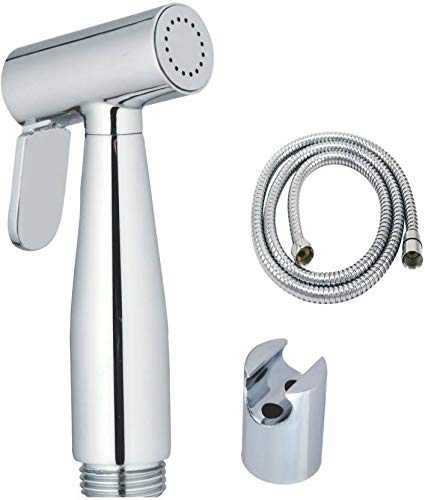 Quick Silver Brass Health Faucet with Stainless Steel 1 Meter Flexible Shower Tube and PVC Holder (Chrome Finish)