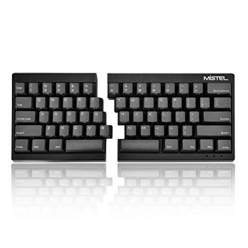 Mistel Barocco Ergonomic Split PBT RGB Mechanical Keyboard with Cherry MX Brown Switches, Black