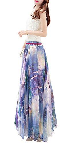 Femmes Aux Robe Rétro Mélange Afibi Maxi Modèle Jupe 106 Soie Longue Cru Mousseline Sa1qOOnw