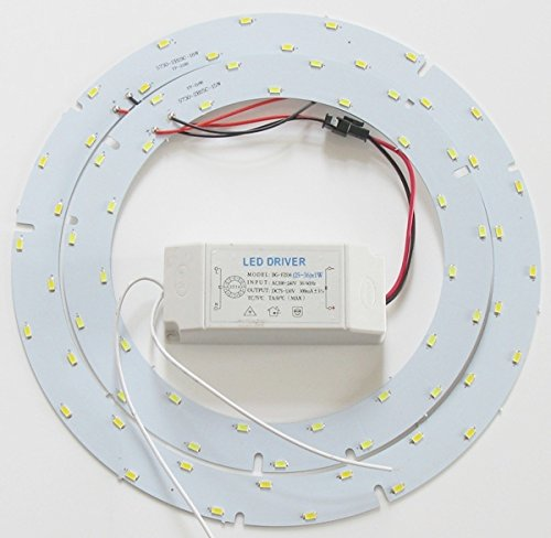 Ledy 33w 9.84 Inch 3630lm 5730 SMD Led Ceiling Light Fixtures Replacement Panel Retrofit Board Light Bulb Replace Incandescent Fluorescent Bulb Round Tube (White)