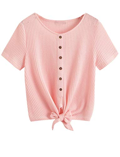 - Romwe Women's Buttons Up Tie Front Knot Short Sleeve Solid Knit Crop Blouse Top Pink XS