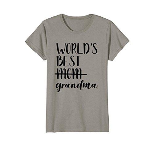 Womens World's Best Mom/Grandma T Shirt Promoted Announcement Medium Slate -