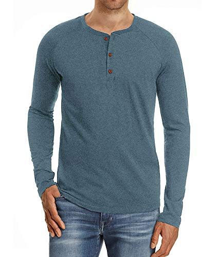 - PEGENO Men's Casual Slim Fit Long Sleeve Henley T-shirts Cotton Shirts VG-Blue-US M