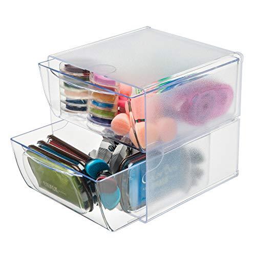 Deflecto - Organizador de cubos apilable, organizador de computadora y manualidades, 2 cajones, transparente, cajones y...