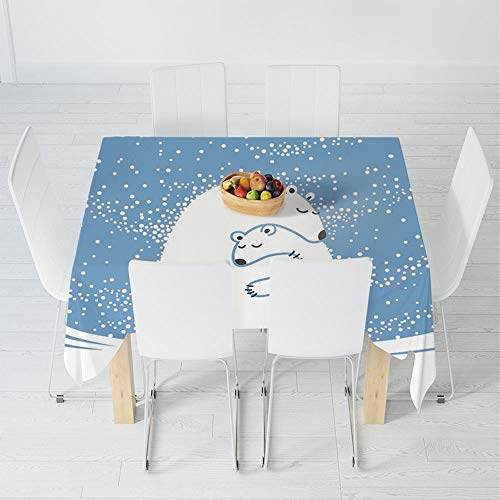 Babies Hemp Polar - Waterproof Tablecloth,Animal Decor,for Dining-Table Tea Table Desk Secretaire,30.3 X 28.3 Inch,Mother Polar Bear Hugging Her Baby in
