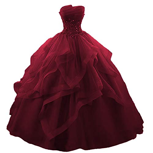 Fair Lady Ruffles Ball Gown Long Quinceanera Dresses Strapless Lace Beaded Prom Dress Princess Gowns Burgundy