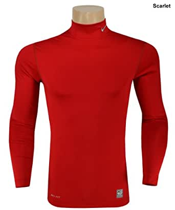 NIKE Men's Long Sleeve Compression Mock Shirt Hyperwarm, Blue, XXL