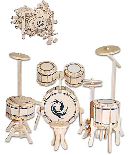 - 3D Wooden Jazz Drum Puzzle Manual Jigsaw Stereo Simulation Model Children Puzzle Ideal Gifts for Adults and Kids