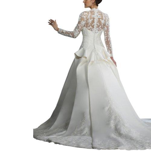 V schiere aermeln GEORGE Spitzen in Koenigs BRIDE Laenge Brautkleider Satin Weiß Ausschnitt Hochzeitskleider voller mit TTtq8pxvw